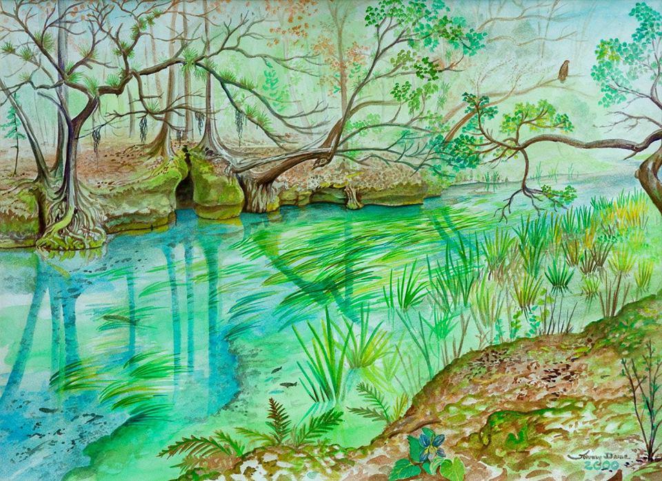 """""""Ichetucknee/Trestle Point"""" painting by John Dame, Jr."""