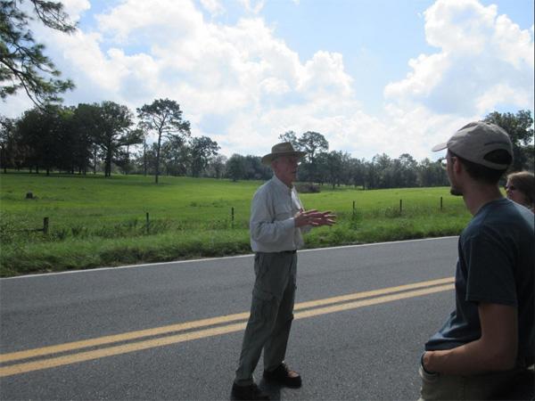 Jim Stevenson in Front of the Ichetucknee Trace, photo by Bob Ulanowicz